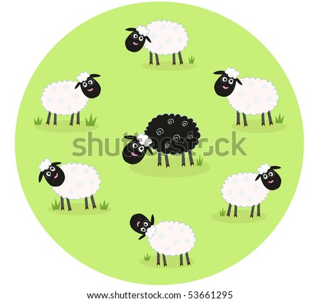 One black sheep is lonely in the middle of white sheep family. Stylized vector illustration of sheep family. The black sheep is different. Vector Illustration.