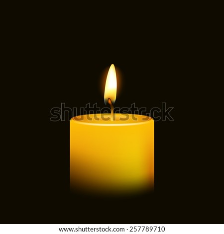 One candle flame at night closeup - isolated. Vector illustration.