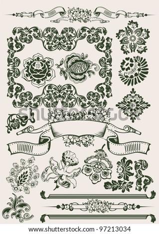 One Color Flowers Vintage Clip-art