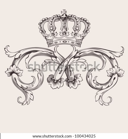 One Color Royal Crown Vintage Curves Banner