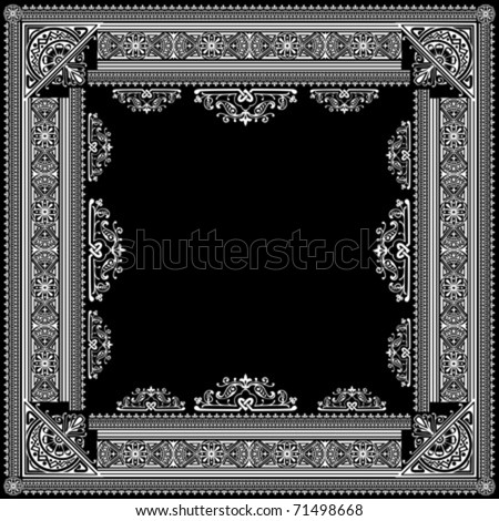 One Color Vector High Ornate Title Frame and Pattern