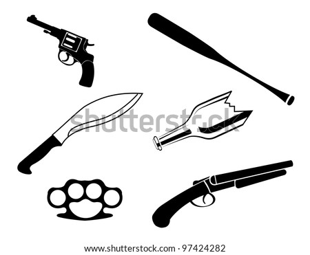 One color vector illegal crime set isolated on the white background
