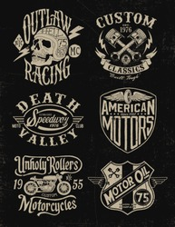 One color vintage motorcycle graphic set