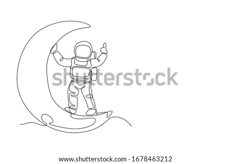 One continuous line drawing cosmonaut exploring outer space. Astronaut standing on crescent moot. Fantasy cosmic galaxy discovery concept. Dynamic single line draw design graphic vector illustration Foto stock ©