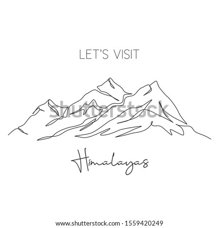 One continuous line drawing Himalaya Mount Everest landmark. World iconic place in Nepal Tibet. Holiday vacation wall decor art poster print concept. Modern single line draw design vector illustration