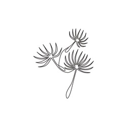 One continuous line drawing of beauty fresh taraxacum for garden logo. Printable decorative dandelion flower concept for wedding invitation card. Trendy single line draw design vector illustration