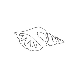 One continuous line drawing of cute sea snail shell for marine logo identity. Seashell mascot concept for nautical life icon. Modern single line draw design vector illustration