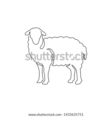 One continuous line drawing of cute sheep for livestock logo identity. Lamb mascot concept for cattle icon. Single line draw design vector illustration