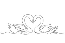 One continuous line drawing of cute swans couple swimming on the lake and their heads formed romantic heart shape. Romantic animal love concept single line graphic draw design vector illustration