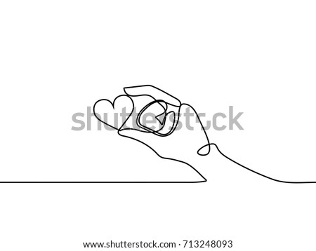 One continuous line drawing of hand holding heart on white background. EPS10 vector illustration for banner, web, design element, template, postcard. Black thin line of hand with heart image.