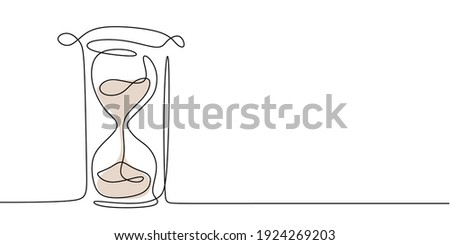 One continuous line drawing of hourglass. One line design style illustration of Hourglass isolated on white background. Time management, deadline concept. High quality image for your presentation