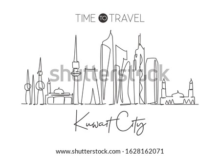 One continuous line drawing of Kuwait City skyline, Kuwait. Beautiful city landmark. World landscape tourism and travel vacation. Editable stylish stroke single line draw design vector illustration
