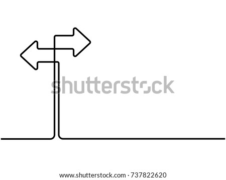 One continuous line drawing of road sign arrows isolated on white background. Vector illustration for banner, web, design element, template, postcard. Signpost in two directions.