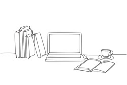 One continuous line drawing of stack of books line up with computer laptop, book and a cup of coffee. Study space desk concept. Single line draw design vector illustration