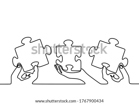 One continuous line drawing of three hands holding puzzle pieces to unite them as sign to start business collaboration. Jigsaw wooden puzzle on white background. Concept of connection