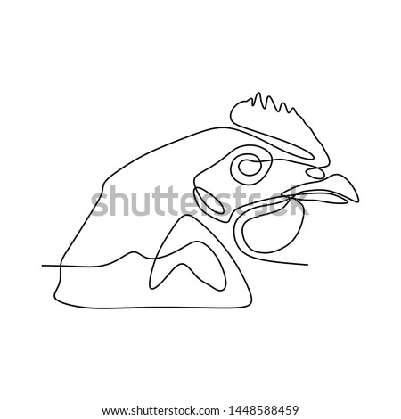 One continuous line drawing of tough rooster for poultry business