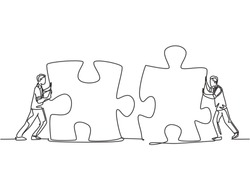 One continuous line drawing of two young businessmen push puzzle pieces to unite them as sign to start business collaboration. Modern unity teamwork concept single line draw design vector illustration