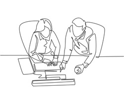 One continuous line drawing of young businessman and businesswoman talking new product launch while watching presentation on screen. Business talk concept single line draw design vector illustration