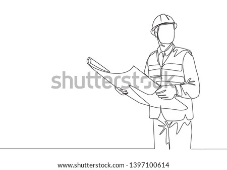 One continuous line drawing of young foreman manager controlling the construction of building. Building architecture business concept. Single line draw design illustration