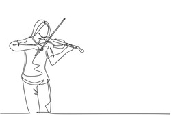 One continuous line drawing of young happy female violinist performing to play violin on music festival concert. Musician artist performance concept single line draw design graphic vector illustration