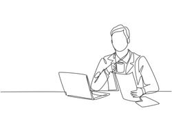 One continuous line drawing of young happy manager reading annual report from public accounting firm while holding a mug of coffee. Drinking coffee or tea concept graphic design vector illustration