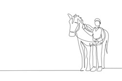 One continuous line drawing of young horse rider man rubbing and stroking horsehair at stable. Equine care. Equestrian sport competition concept. Dynamic single line draw design vector illustration