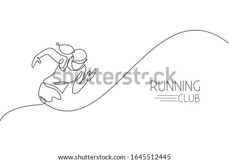 One continuous line drawing of young woman athlete runner focus sprint run. Individual sport, competitive concept. Dynamic single line draw design vector illustration for running competition poster