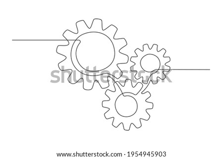 One continuous line illustration of gears wheels. Three cogwheels in lineart style. Editable stroke. Symbol of teamwork, development, logo, emblem. Creative concept of business teamwork. Vector