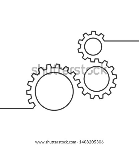One continuous line illustration of moving gears wheels. Three cogwheels connected by one line. Editable stroke. Suitable for business concept, background element. Symbol of teamwork, development.