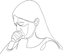 One continuous line of Coronavirus COVID-19 in lung Symptoms of disease A Woman coughing. patient. Vector illustration. woman feeling sick, coughing, wearing protective mask drawing