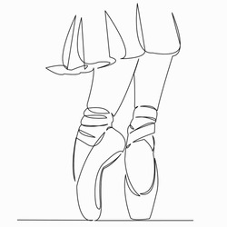 One continuous single drawing line art doodle ballet, dancer, shoe, dance, elegance. Isolated image hand draw contour on a white background