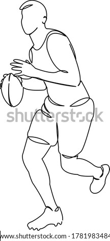 One continuous single drawing line art doodle sport, ball, player, rugby, athlete, football. Isolated flat illustration hand draw contour on a white background