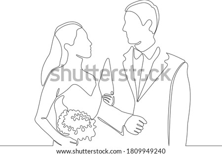 One continuous single drawing line art doodle wedding, bride, groom, couple, love, celebration, romantic. Photo stock ©