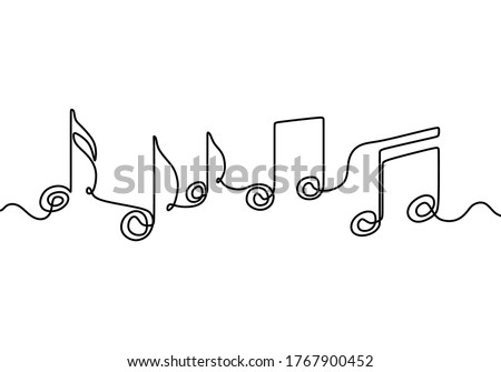 One continuous single line of a treble clef is drawn by a single black line on a white background. The chord that creates classical music. Scribble hand drawn doodle sketch minimalism style