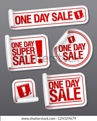 One Day Sale stickers set.