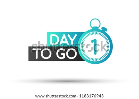 one day to go label  red flat
