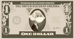 One Dollar Bill with George Washington Wearing Surgical Mask. USA in economic crisis during pandemic concept illustration