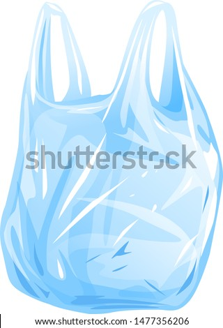 One empty plastic bag with handles isolated illustration, thin transparent disposable bag, plastic shopping bag, plastic grocery bag