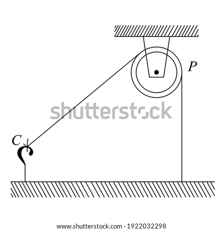 One end of a massless rope, which passes over a massless and frictionless pulley P is tied to a hook C while the other end is free, Physics Measurement Zdjęcia stock ©