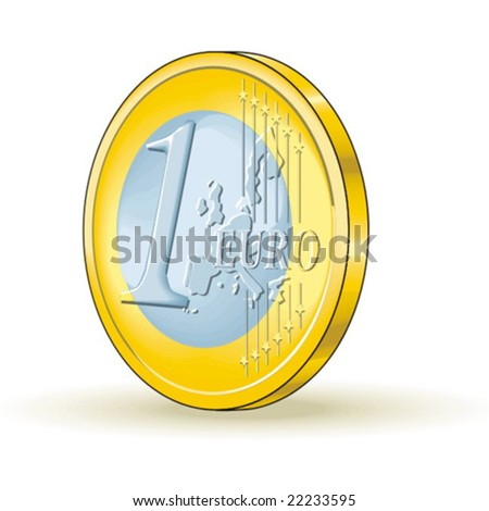 One euro coin - stock vector