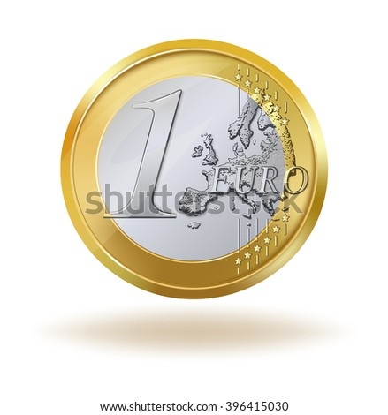 One euro coin. 1 euro coin isolated on white background. Vector illustration