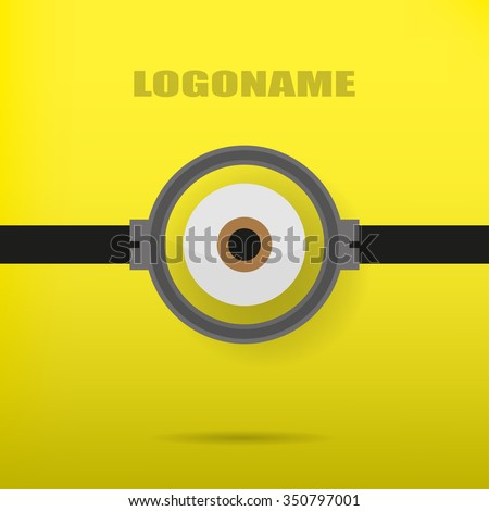 One eye on a yellow background illustration of a stylish logo