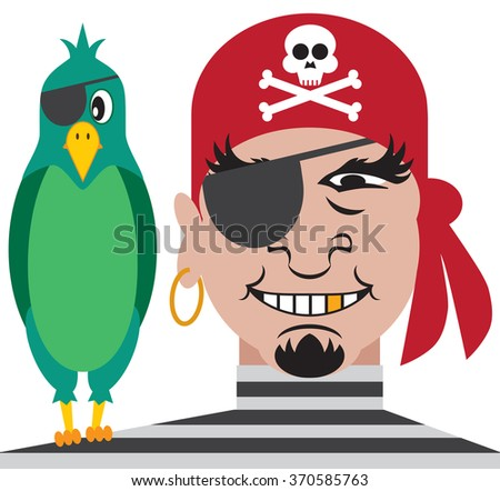 One eyed pirate with one eyed parrot resting on his shoulder
