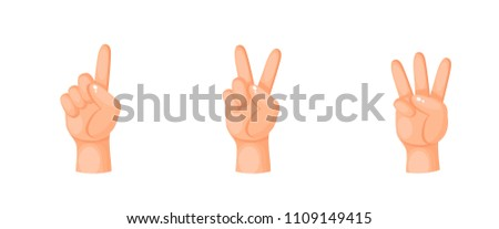 one finger, two fingers, three fingers shows a vector