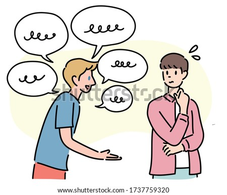 One foreigner speaks a foreign language and the other does not understand it. hand drawn style vector design illustrations.  Photo stock ©