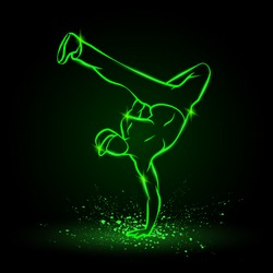One hand frieze by B Boy. Break dancer dancing and making a frieze by one hand. Vector green neon illustration.