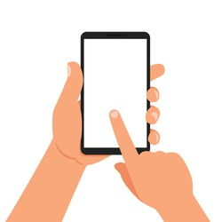 One hand holds a smartphone and the other touches the screen. Vector illustration.