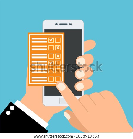 One hand holds smartphone and finger touch checklist on screen. Flat vector illustration. #1058919353