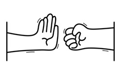 One hand stops another with aggressive clenched fist stop violence concept, vector flat style cartoon isolated on white, against cruelty and crime.