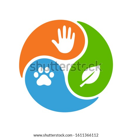 One Health infographic diagram. Three sectors with icons of global health areas: healthy people, animals and environment. Vector clip art illustration.